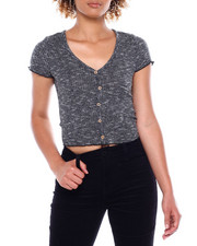 Almost Famous - Faux Button Up Cropped Tee-2381191
