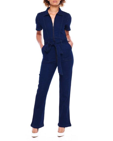 Fashion Lab - S/S Zip Front Denim Jumpsuit W/Belt
