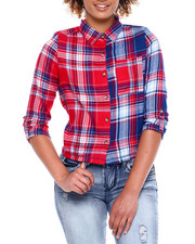 Almost Famous - 3/4 Roll Tab Slv Plaid Wined Bttn Up Shirt-2381177