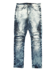 Arcade Styles - Side Moto Pleated Knee Jeans (8-20)-2383804
