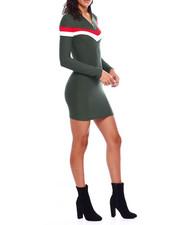 Fashion Lab - Mock Neck Half Zip Contrast Splice Long Sleeve Dress-2383778