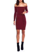 Dresses - Off Shoulder L/S Rib Belted Dress W/Lettuce Edge-2384001