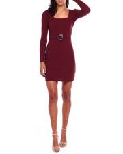 Dresses - L/S Rib Square NK Seamed Dress W/Horn Buckle Belt-2383980