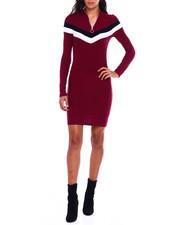 Dresses - Mock Neck Half Zip Contrast Splice Long Sleeve Dress-2383772