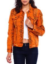 Women - Distressed Snake Denim Jacket-2381340