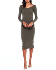 Dresses - L/S Rib Double Vnk Dress-2383993