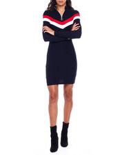 Women - Mock Neck Half Zip Contrast Splice Long Sleeve Dress-2383783
