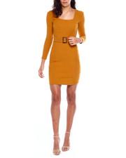 Dresses - L/S Rib Square NK Seamed Dress W/Horn Buckle Belt-2383954