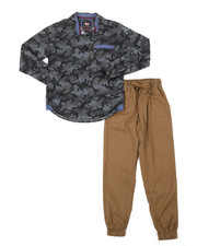 Arcade Styles - All Over Camo Print Woven Shirt & Twill Jogger Pants Set (8-18)-2383840