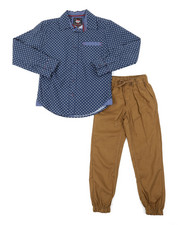 Arcade Styles - All Over Print Woven Shirt & Twill Jogger Pants Set (8-18)-2383836