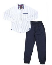 Boys - All Over Print Woven Shirt & Twill Jogger Pants Set (8-18)-2383844