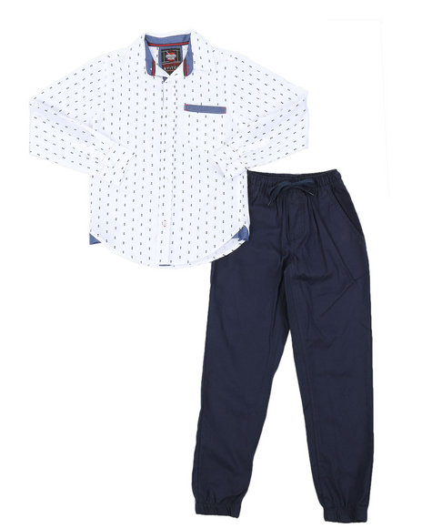 Arcade Styles - All Over Print Woven Shirt & Twill Jogger Pants Set (8-18)