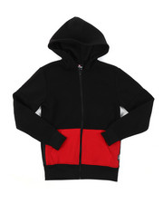 Hoodies - Color Block Full Zip Fleece Hoodie W/ Zipper Detail (8-20)-2384793