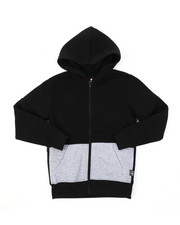 Hoodies - Color Block Full Zip Fleece Hoodie W/ Zipper Detail (8-20)-2385367