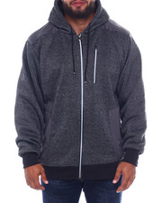 Buyers Picks - Sherpa Lined Block Marled Fleece Hood Zip W/Solid Color Panels (B&T)-2387118