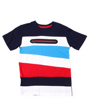 Arcade Styles - S/S Color Block Tee W/Neon Nylon Zipper (8-18)-2387338