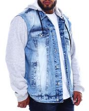 Big & Tall Faves - Fleece Combined Denim Jacket (B&T)-2385949