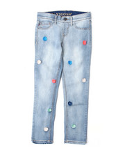 "Jeans - 23"" Ankle Pull-On w/ Pom Pom EMB DTLS (7-16)-2388843"