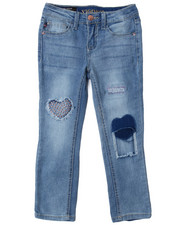 Bottoms - Skinny Jeans w/ Denim Patches And Print DTLS (4-6X)-2388971