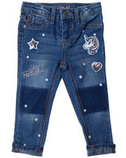 Sizes 2T-4T - Toddler - Ankle Jeans w/ Slogan, EMB, & Shadow Patch DTLS (2T-4T)-2388957