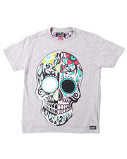Arcade Styles - S/S Sugar Skull Printed Solid Crew Neck Jersey (8-18)-2388796