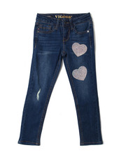 "Girls - 23"" Ankle Jeans w/ Iridescent caviar Heart Patches DTLS (7-16)-2388951"