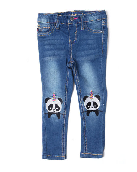 Vigoss Jeans - Skinny Pull-On Jeans w/ Knee Critter Patch DTLS (2T-4T)