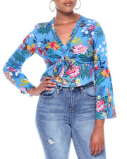 Fashion Lab - Tie Frt Bell Slv Crop Blouse W/Cutout Detail-2371625