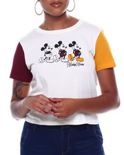 Tops - Mickey Mouse Contrast Short Sleeve Skimmer Tee-2388987