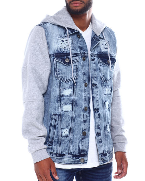 Buyers Picks - Hooded Denim Jacket w Fleece Sleeve