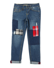 Jeans - Ankle Rolled Cuff Hem Jeans w/ Plaid Details (7-16)-2390322
