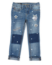 Bottoms - Ankle Jeans W/ Slogan Embroidery (4-6X)-2390311