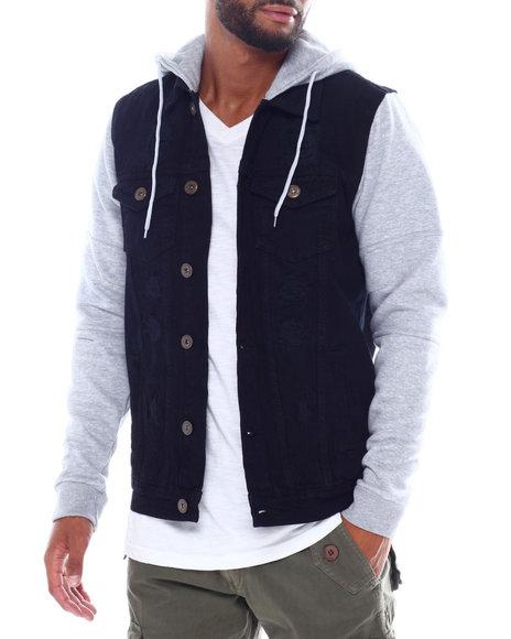 Buyers Picks - Hooded Denim Jacket w Fleece Sleeve