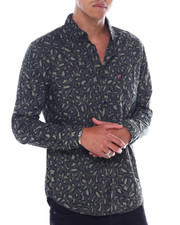 Mens-Fall - OLIVE LEOPARD BUTTONFRONT LS SHIRT-2391089