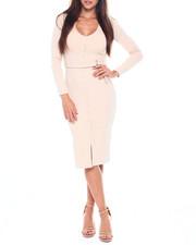 Dresses - L/S Rib Vnk Midi Dress W/Button Placket & Belt-2391379