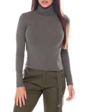 Fashion Tops - L/S Rib Turtle NK Top-2391367
