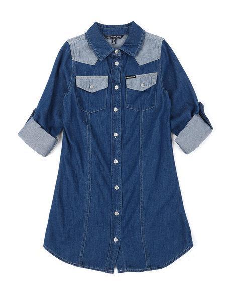 Calvin Klein - Western Colorblock Cotton Denim Dress (7-16)
