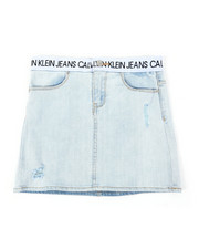 Girls - Logo Waistband Denim Skirt (7-16)-2390583