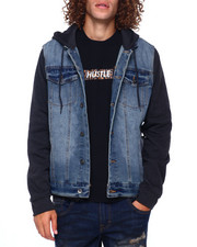 Men - HOODED DENIM JACKET W KNIT SLEEVE-2392039
