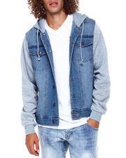 Men - HOODED DENIM JACKET W KNIT SLEEVE-2392034
