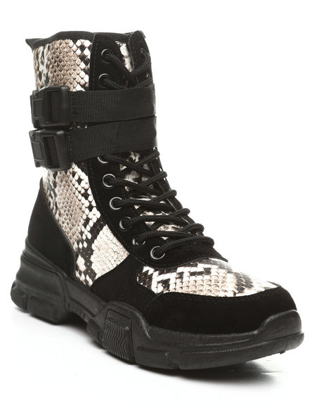Fashion Lab - Ghandi-45 Lace-Up Boots W/ Double Buckle