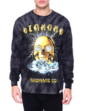 Diamond Supply Co - GOLD SKULL TIE DYE L/S TEE-2393243