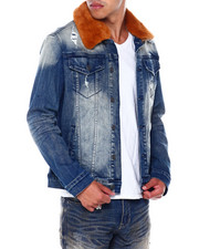 SMOKE RISE - Faux Fur Collar Denim Jacket-2394714