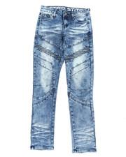 Arcade Styles - Stretch Denim Moto Jeans W/ Cut & Sew Panels (8-18)-2395275
