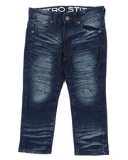 Bottoms - Stretch Denim Moto Jeans W/Embossed Gel Injection (2T-4T)-2395250
