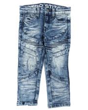 Jeans - Stretch Denim Moto Jeans W/ Cut & Sew Panels (2T-4T)-2395266