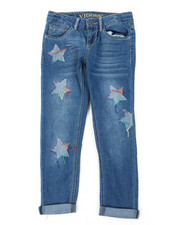 Girls - Ankle Jeans W/ Reverse Denim Star Patch Detail (7-16)-2393969