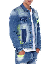 SMOKE RISE - NEON DETAIL DENIM JACKET-2394724