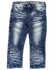 Jeans - Stretch Denim Moto Jeans W/ Cut & Sew Panels (2T-4T)-2395040