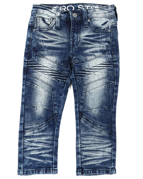 Arcade Styles - Stretch Denim Moto Jeans W/ Cut & Sew Panels (2T-4T)